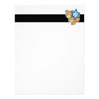 cute hanukkah teddy bear holding star of david letterhead