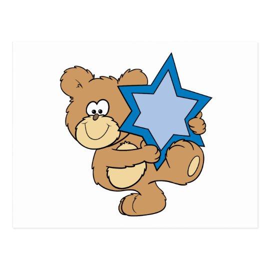 cute hanukkah teddy bear holding star of david postcard