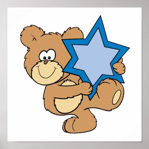 cute hanukkah teddy bear holding star of david print