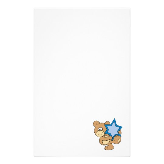 cute hanukkah teddy bear holding star of david stationery
