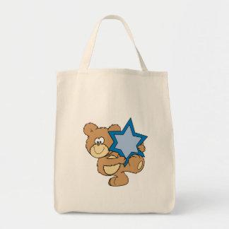 cute hanukkah teddy bear holding star of david tote bag