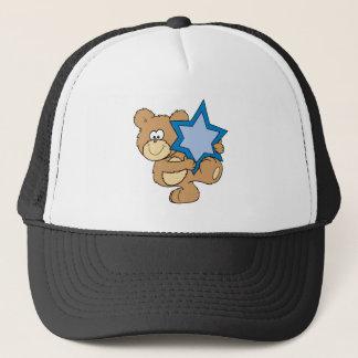 cute hanukkah teddy bear holding star of david trucker hat