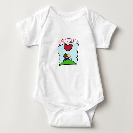 """Cute, """"Happily Ever After"""" wedding design Baby Bodysuit"""