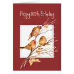 Cute Happy 100th Birthday Song Sparrows Greeting Card