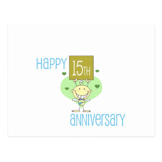 "Cute, ""Happy 15th Anniversary"" design Postcard"