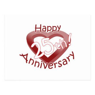 "Cute, ""Happy 25th Anniversary"" Heart design Postcard"