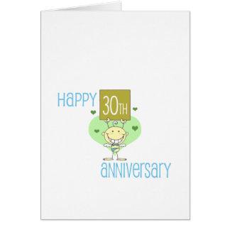 """Cute, """"Happy 30th Anniversary"""" design Card"""