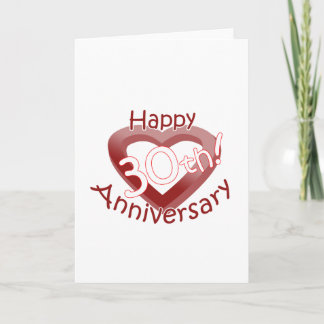 "Cute, ""Happy 30th Anniversary"" Heart design Card"