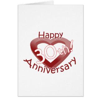 "Cute, ""Happy 30th Anniversary"" Heart design Card"