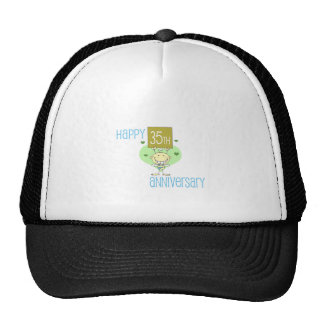 "Cute, ""Happy 35th Anniversary"" design Mesh Hats"