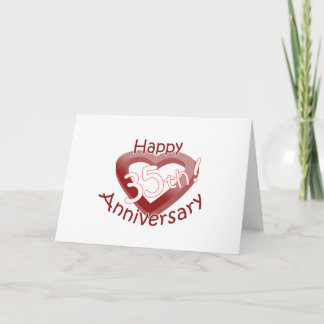 "Cute, ""Happy 35th Anniversary"" Heart Design Card"