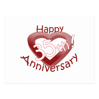 "Cute, ""Happy 35th Anniversary"" Heart Design Postcard"