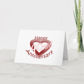 "Cute, ""Happy 40th Anniversary"" Heart design Card"
