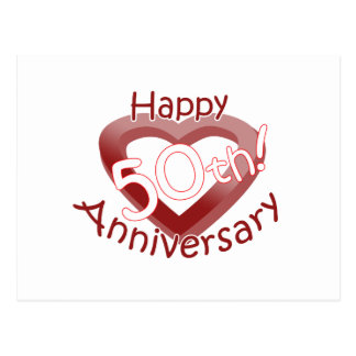 "Cute, ""Happy 50th Anniversary"" Heart design Postcard"
