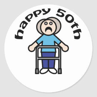 "Cute, ""Happy 50th"" Old Woman design Round Sticker"