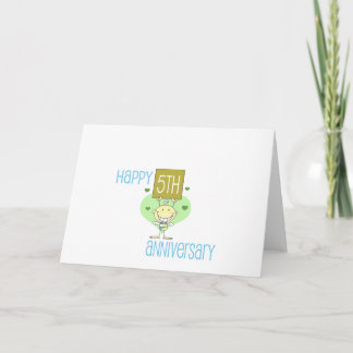 "Cute, ""Happy 5th Anniversary"" design Card"