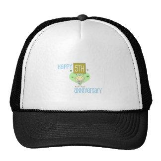 """Cute, """"Happy 5th Anniversary"""" design Hats"""