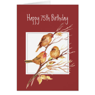 Cute Happy 75th Birthday Song Sparrows Card