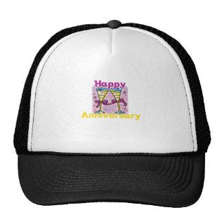 "Cute, ""Happy Anniversary"" design Mesh Hats"
