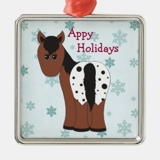 Cute Happy Appy Holidays Blanket Appaloosa Horse Metal Ornament