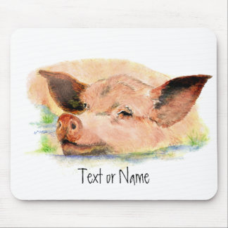 Cute Happy as a  Pig in Mud, Farm Animal, Humor Mouse Pad