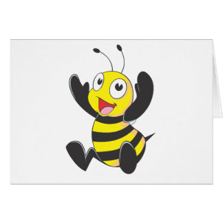 Cute Happy Baby Bee Arms Hands Up Waving Greeting Card