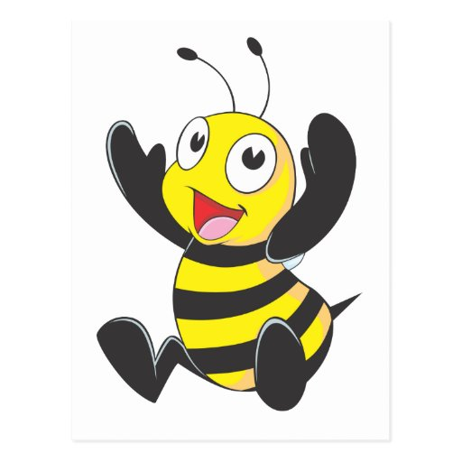Cute Happy Baby Bee Arms Hands Up Waving Post Card