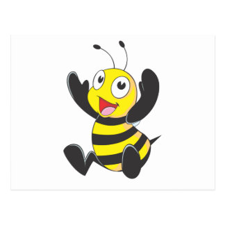 Cute Happy Baby Bee Arms Hands Up Waving Postcard
