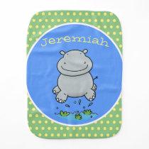 Cute happy baby hippo cartoon illustration baby burp cloth