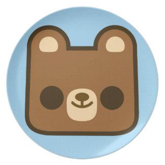 Cute Happy Bear Face on Blue Plates