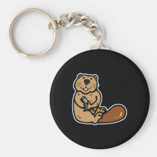 cute happy beaver keychain