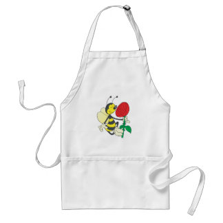 cute happy bee smelling rose adult apron