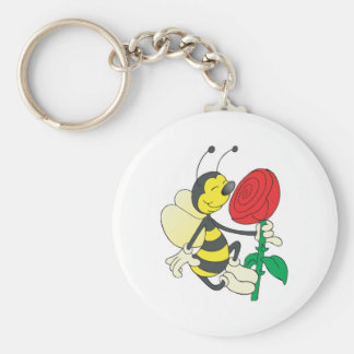 cute happy bee smelling rose keychain