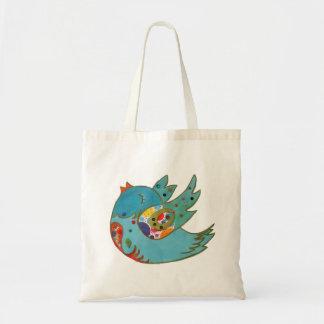 Cute happy bird tote bag