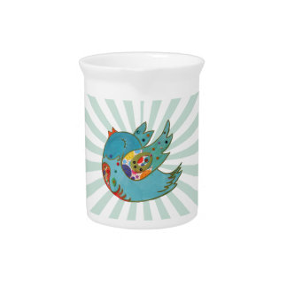 Cute happy bird beverage pitcher