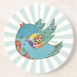 Cute happy bird drink coaster
