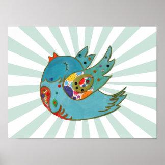 Cute happy bird poster