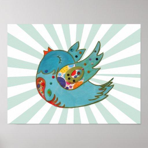 Cute happy bird print