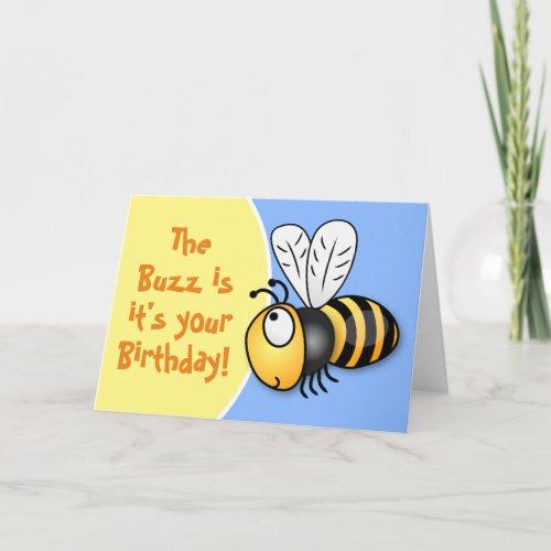 Cute happy birthday bee cartoon illustration card