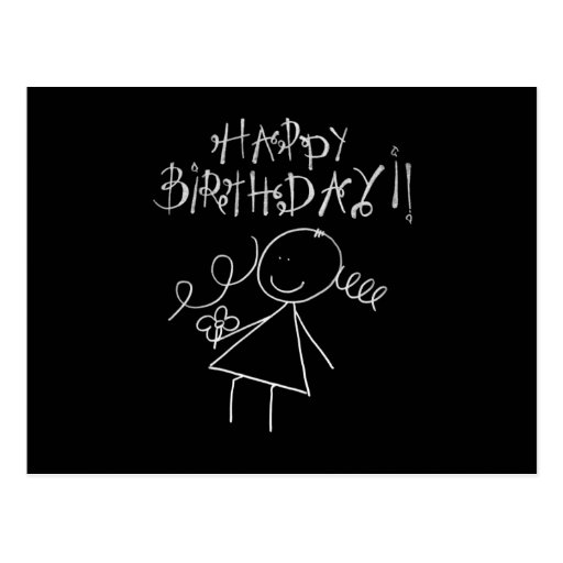 Cute Happy Birthday Card, Black with white Graphic Postcards