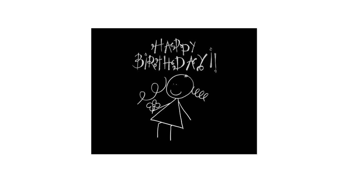 Cute Happy Birthday Card Black With White Graphic Postcard Zazzle