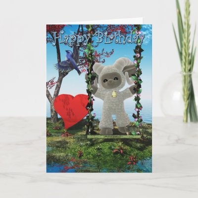 Cute Happy Birthday card with Ram and heart on a swing
