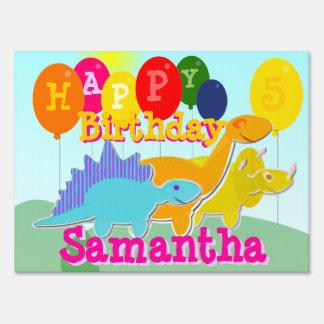 Cute Happy Birthday Cartoon Dinosaurs Yard Sign
