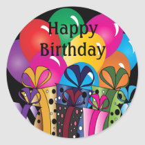 Cute Happy  Birthday | Colorful Balloons & Gifts Classic Round Sticker