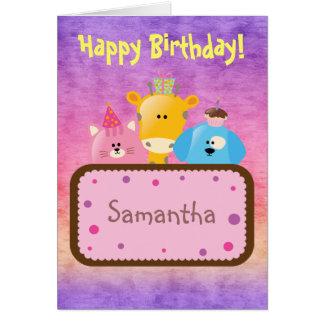 Cute Happy Birthday Giraffe, Dog & Cat Card