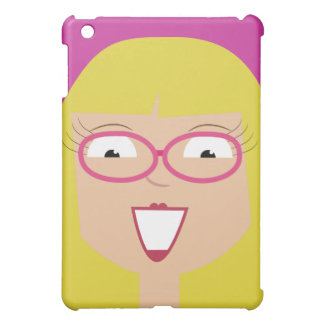 Cute Happy Blonde Girl With Glasses Customizable Case For The iPad Mini