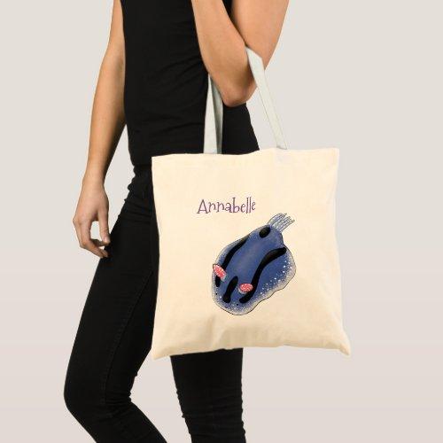 Cute happy blue nudibranch cartoon illustration tote bag