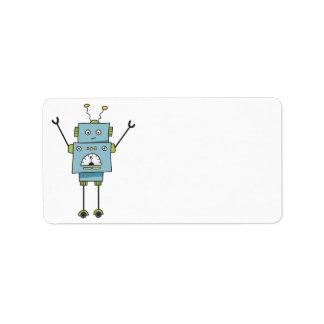 Cute Happy Blue Robot Blank Label
