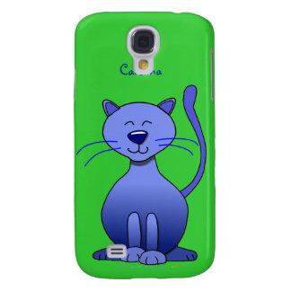Cute Happy Blue Smiling Cat Custom Name Skin Galaxy S4 Case