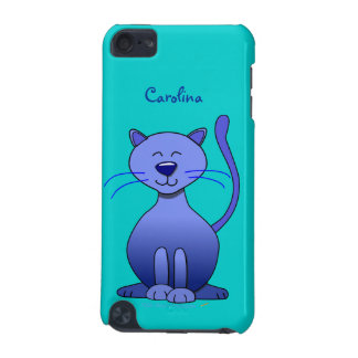 Cute Happy Blue Smiling Cat Custom Name Skin iPod Touch 5G Cover